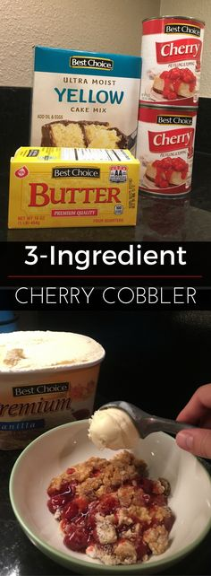 Making a dessert doesn't get much easier than this recipe! This fruit cobbler is perfect for a get-together and is complete with a big scoop of ice cream. Bring it to a summer cookout and you're sure to please a crowd. | Best Choice Brand
