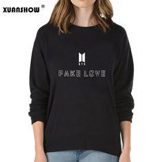 1de48c21ddd XUANSHOW Fake Love Women Sweatshirt Hoodies BTS Love Yourself Tear Hot Sale  Print Girls Cool Sweatshirt Fashion Plus Size S-XXL