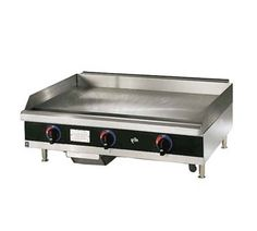 """Star Star-Max Griddle 24"""" - 624TSPD    Star-Max Griddle, countertop, gas, 24""""L, 27-3/4""""D, 15-1/2""""H, 3/4"""" steel griddle plate, thermostat controls every 12"""", safety pilot, aluminum steel construction,s/s front with black trim, wrap-around s/s splash guard,grease trough & s/s drawer, 4""""legs, 56,600 BTU"""