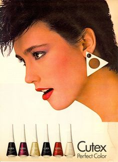 Loving the triangle earring! 1980s Makeup, Vintage Makeup Ads, Vintage Nails, Retro Makeup, Vintage Beauty, Vintage Vanity, 80s Ads, Old Advertisements, Retro Advertising