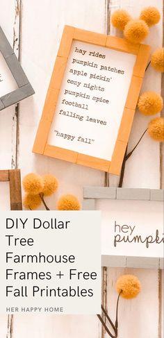 Paint Stained Wood, Dollar Tree Frames, Farmhouse Frames, Free Art Prints, Fall Diy, Happy Fall, Fall Decor, Tray, Pumpkin