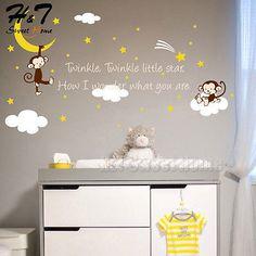 Twinkle Twinkle Little Star Quote Monkey Vinyl Wall Sticker Decal Kids Baby Room