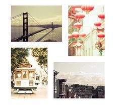 Pastel San Francisco Print set of 4 SF Photos, Peach, Mint, Neutral Decor, san francisco art set by Raceytay on Etsy