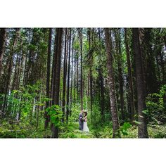 Even though their wedding was at the top of Kicking Horse Resort, we still spent some time exploring the back roads around Golden, BC. Love this shot of Steph and Chris in the forest on the bench below the resort! To see more visit our blog at www.68photo