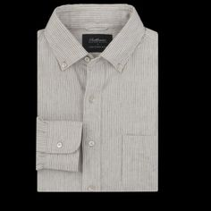 UNIONMADE - UNIONMADE Black & Khaki Collection - Shuttle Notes Linen Pinstripe Long Sleeve Button Down Shirt in Natural and Black