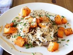 Chilli Roasted Butternut Squash with Soba Noodles and a Miso-Tahini Sauce