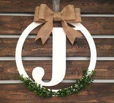 "Monogram Wreath, Christmas Wreath, Front Door Wreath, Letter Wreath,  14"" Wooden Wreath by LetterFlyDesigns on Etsy"