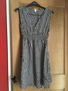 22920508594 H M Maternity Dress Size M (damaged) Black White Check  fashion  clothing