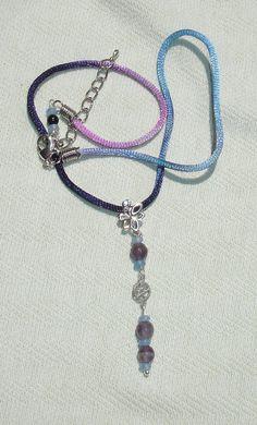 Child's Purple, Blue Gemstone Pentagram Dangle Necklace