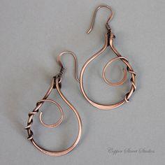 Copper Wire Earrings Wire Wrapped Earrings Metal Teardrop