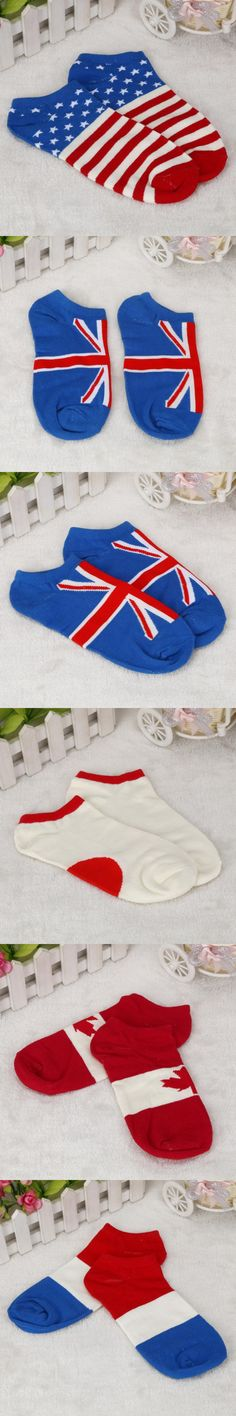 1Pair Mens Printing Flags Ankle Socks Low Cut Casual  Cotton Socks Hot Sale Casual Fashion Miesten sukat 1 #AA