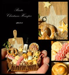 Luxury Christmas Star Hamper - Artisan fully Handmade Miniature in 12th scale. From After Dark miniatures.