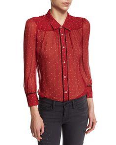 Le Peasant Polka Dot-Print Blouse, Crimson