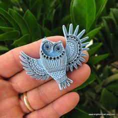 The Illustrated Owl Brooch by brightcolorart - An original hand painted wooden brooch, constructed from cherry wood. Hand sawn, carved, and assembled, primed with gesso and sanded smooth. Hand drawn with black indian ink on three layers of acrylic paint and sealed with a glossy varnish.