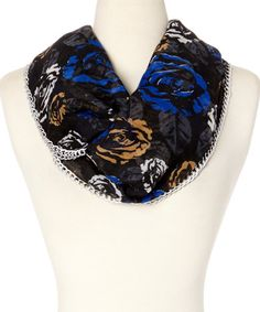 Loving this Blue Digital Rose Infinity Scarf on #zulily! #zulilyfinds