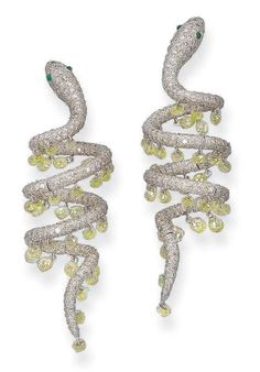 A PAIR OF DIAMOND SERPENT EAR PENDANTS, BY MICHELE DELLA VALLE  Each designed as a pavé-set diamond coiling snake, the articulated body suspending a fringe of briolette-cut diamonds, mounted in 18k white gold