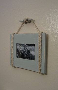 Shabby Chic Nautical Beach cottage 4X6 Rope Boat cleat Picture Frame in Distressed Watery Blue. $22.95, via Etsy.