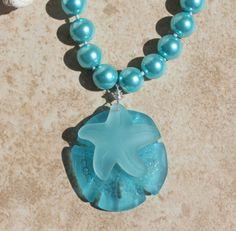 Pearl Necklace Aqua Pearls Blue Pearls Seaglass by InaraJewels