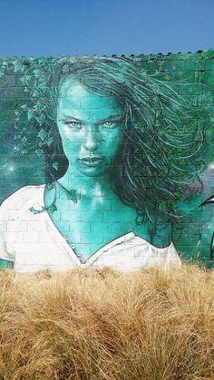 street art: passion portrait 3 by Hopare + Alex Mac 3HC in Marche Jules Valles, Paris, France 2014-09