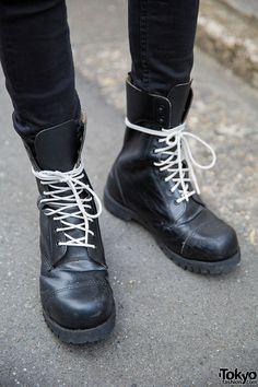 Harajuku Guy in Horns Beret, UNIF Jacket, Vivienne Westwood & Dr. MartensDr. Martens Boots – Tokyo Fashion News