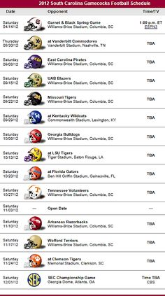 South Carolina Gamecocks Football Team 2012 Schedule