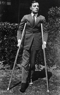 Buster after breaking his ankle on the set of The Electric House.  Escalators are dangerous. (1922)