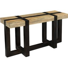 Lend a touch of industrial loft appeal to the foyer or living room with this console table, showcasing a wood surface blocking pattern and black-finished fra...