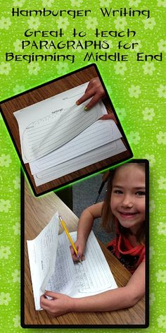 "I use this  hamburger organizer to transition 2nd-3rd graders into writing paragraphs. Students use this hamburger organizer to draft their papers, and then when they write their final drafts, they are able to easily transition into a paper that has 3 paragraphs. I tell them-- when you ""FLIP"" the paper on your hamburger ----start a new paragraph. Read more about the organizer on my BLOG!"