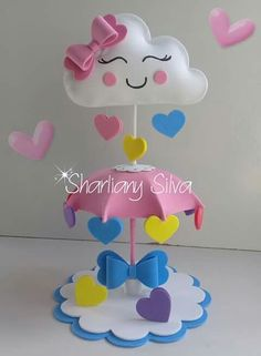 Ideas For Baby Shower Decoracion Arcoiris Foam Crafts, Diy And Crafts, Crafts For Kids, Paper Crafts, Cloud Party, Shower Bebe, Baby Boy Shower, Baby Shower Centerpieces, Baby Shower Decorations