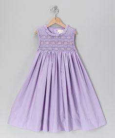 Lavender Smocked Babydoll Dress - Girls