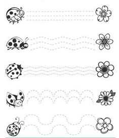 Crafts,Actvities and Worksheets for Preschool,Toddler and Kindergarten.Lots of worksheets and coloring pages. Tracing Worksheets, Kindergarten Worksheets, Free Preschool, Preschool Activities, Ladybug Crafts, Pre Writing, Bugs And Insects, Kids Education, Classroom