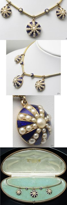 Pearl and enamel rocket necklace, United Kingdom, ca. 1870, natural pearl, girosshu enamel, 15k gold, with original case by Watherston & Son, Inc., total length: 34.8cm, rocket: 2cm