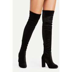 Back Zipper Block Heeled Thigh High Boots ❤ liked on Polyvore featuring shoes, boots, above the knee boots, thigh-high boots, above-knee boots, back zip boots and over-knee boots