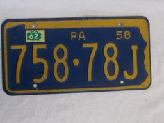1962  /  1958   PENNSYLVANIA     LICENSE PLATE   758 78J
