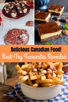 Traditional and authentic Canadian Food is some of the best in the world! From appetizers to dinner to dessert, Canadian food is guaranteed to satisfy. See all the best authentic Canadian food here, including recipes and video! Canadian Food, Canadian Recipes, Canadian Poutine, Canadian Cat, Canadian Dishes, Canadian Cuisine, Canadian Culture, Montreal Smoked Meat Sandwich, Butter Tart Squares