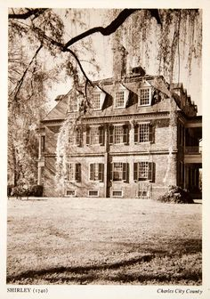 This is an original 1947 black and white photogravure of Shirley Plantation (1740) in Charles City County, Virginia. Located on the north bank of the James River, Shirley Plantation dates to 1614. The