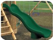 Double wall polyethylene construction/rotationally molded design. Solid base included. No wood required. Comes in 10ft length for 5ft deck in green, yellow or blue. - See more at: http://www.totalplaygrounds.com/product/super-wave-slide-3/#sthash.MUe4FwXj.dpuf  price- $449