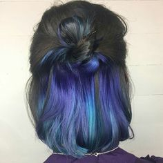 22 Spellbinding Hidden Hair Color Ideas for Women Hair Color Ideas hair color streaks ideas Hair Color 2018, Hair Color Purple, Hair Dye Colors, Hair 2018, Blue Ombre, Navy Blue, Teal Hair, Pastel Purple, Peekaboo Hair Colors