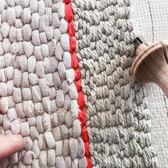 Rug hooking with repurposed materials. . . . #rughooking #alternativefibers #repurposed #fiberart #textildesign #rugpunching #diy #madebyhand #textures