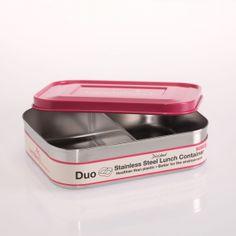 Brotdose aus Edelstahl, zwei Fächer, pink