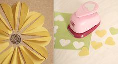 Karten basteln mit Papier: Einladung mit Blumenmotiv 3D - Herzstanzer