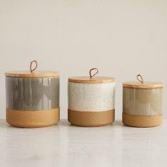Stoneware Jar With Wood Lid and Leather Loop, Set of 3