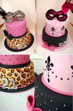 pink black and leopard masquerade cakes