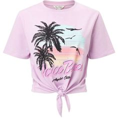 Miss Selfridge Pink Venice Beach T-Shirt (€29) ❤ liked on Polyvore featuring tops, t-shirts, shirts, crop tops, blusas, pink, beach t shirts, tie front shirt, crop tee and short sleeve t shirt