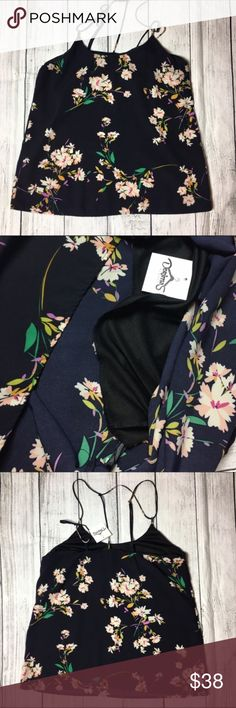 🆕Stunning blue floral print blouse 💙 Beautiful flower print blouse. Midnight blue with colorful flower print throughout the blouse. Has adjustable straps and under lining around the cheat area. Made out of 100% polyester materials💕 Dorimas Closet Tops Blouses