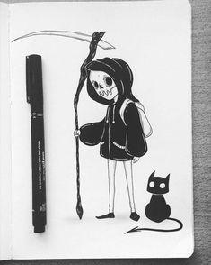 Reaper kid repost for Scott Thomas co I love this Dark Art Drawings, Cute Drawings, Drawing Sketches, Creepy Art, Ink Art, Doodle Art, Cute Art, Art Inspo, Art Reference