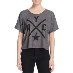 Hamilton Nyc X Crop Tee ($48) ❤ liked on Polyvore featuring tops, t-shirts, dark gray heather, star tee, heather t shirt, logo tees, logo t shirts and crop top