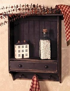 Country Primitive Folk Art BLACK DRAWER SHELF Peg Key Hooks Cabinet Cupboard #BlackFolkArt