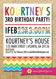 Printable Rainbow Party Invitation DIY - invite rainbow newspaper girl boy birthday shower party chevron child children