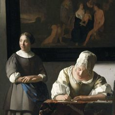 Johannes Vermeer (Dutch Golden Age painter, 1632–1675) Woman Writing a Letter, with her Maid [Detail], c. 1670. Oil on canvas, 71.1 x 60.5 cm. National Gallery of Ireland, Dublin.